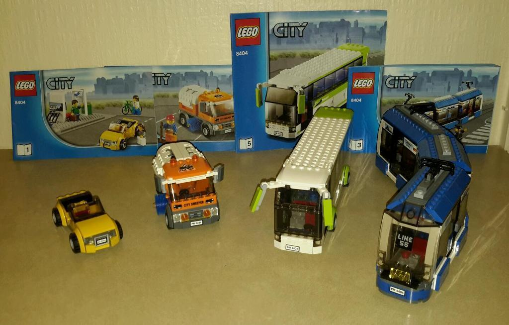 Lego 8404 Vehicles And Instructions Tram Coach Road Sweeper And