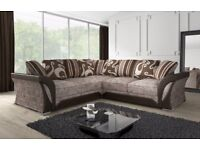 GET YOUR ORDER AT YOUR DOOR- BRAND NEW SHANNON CORNER or 3 + 2 SOFA IN GREY BLACK AND MINK BROWN