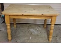 Solid Pine Table, Rectangular, Farmhouse Country Style Pine Dining / Pine Kitchen Table