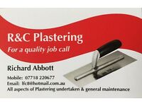 R&C plastering all aspects of plastering undertaken & general maintenance