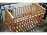 East Coast birch wood dropside cot, great condition
