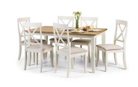 Eversham/ davenport oak/ cream table and 6 chairs. New.