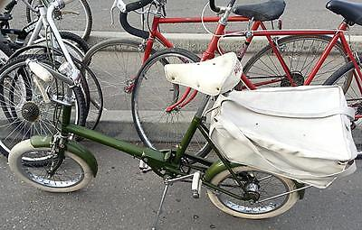 "Rare 1960s England Raleigh RSW Folding Bicycle 16"" Tires + Rare rear Pannier Bag"
