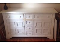 Painted dresser - sideboard - painted pine ivory with antique wax finish