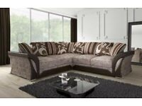 BRAND NEW FURNITURE-SHANNON SOFA FABRIC & FAUX LEATHER LEFT / RIGHT CORNER/3+2 SEATER-CALL NOW