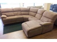FV Ronson, Light Brown Fabric, 5 PIECE CURVED CORNER SOFA + CHAISE (RRP £2499) + FREE LOCAL DELIVERY