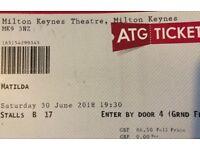 2 x Matilda tickets Milton Keynes