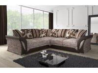 Stylish Designer very large 3 + 2 and corner Shannon sofa set - get black grey and brown beige