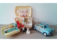Sylvanian Family Caravan and Car Set Including 2 Figures. Great Christmas Gift.