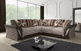 ⭕🛑⭕OFFER END SOON ⭕🛑⭕BRAND NEW SHANNON CORNER SOFA in LEATHER & CHENILLE FABRIC,3 AND 2 SEATER