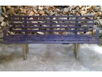 Large reclaimed steel 3-4 seater park bench with stainless steel legs