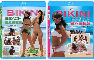 2 3D Blu-ray Movies! 3D Bikini Beach Babes Issue 1 & 2 3D Bluray lot collection!