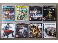8 PS3 GAMES. BATTLEFIELD 3, UNCHARTED, METAL GEAR SOLID, INFAMOUS, RIDGE RACER, HEAVY RAIN & MORE