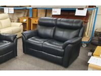 Furniture Village Relax Station Revive 2 Seater Black Leather Sofa Can Deliver