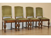 Attractive Set Of 4 Four Vintage Turned Oak Upholstered Dining Kitchen Chairs