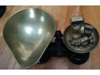 Brass/cast iron Kitchen scales with set of brass weights