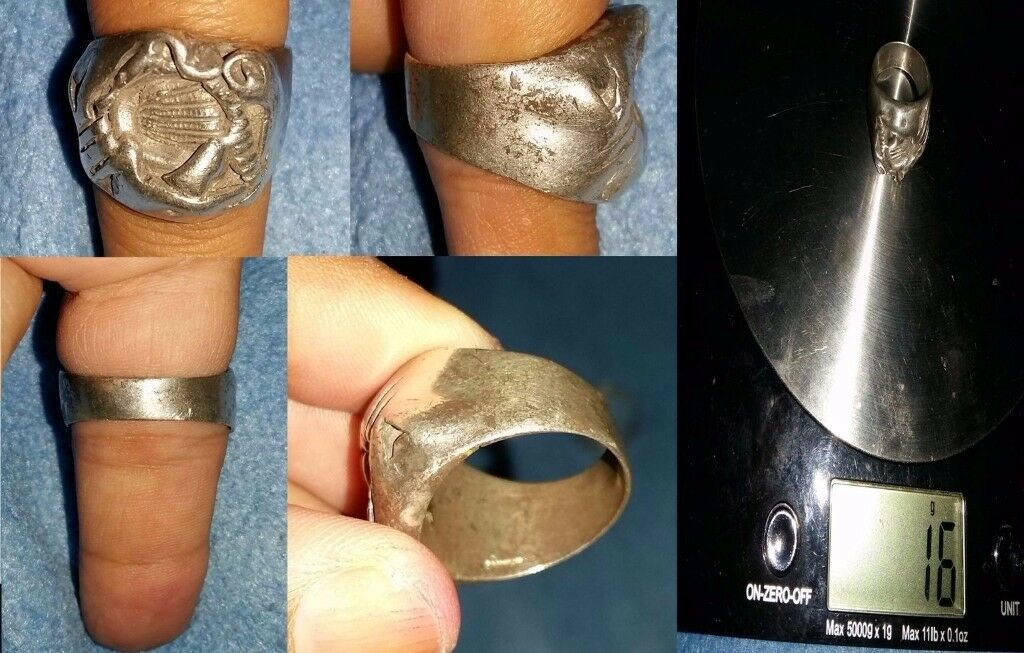 MENS 926 ANTIQUE STERLING SILVER RING SIZE 12 SNAKE-HEAD open 2 offers