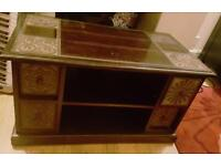 Dark solid wood coffee table ethnic style from Pier