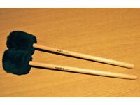ORCHESTRAL BASS DRUM BEATERS BY AMBRA PERCUSSION. HARD CORK CORE WITH FUR FELT AND MAPLE SHAFTS. NEW