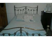 Ornate double bed frame brass and silver
