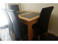 Dining room table solid wood with marble inserts