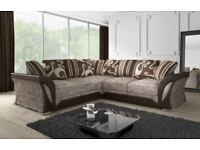 Choose comfort-SHANNON SOFA FABRIC And FAUX LEATHER LEFT OR RIGHT CORNER - 3+2 SEATER