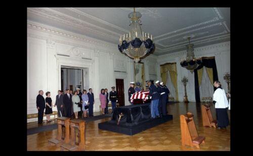 John F Kennedy Casket PHOTO, Assassination, 1963 White House East Room President