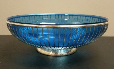 Vintage Italy Silverplate Wire Bread Basket Centerpiece Bowl Cobalt Blue Insert