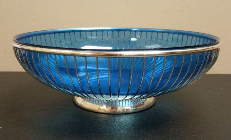 Vintage Italy Silverplate Wire Bread Basket Centerpiece Bowl Cobalt Blue Insert