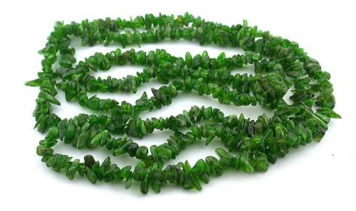 Genuine RARE 4mm to 9mm Chrome Green Diopside 34 Inch Chip Bead Strand EBS9008