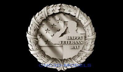 3d Model Stl For Cnc Router Artcam Aspire Usa Flag Veterans Day Pano D305