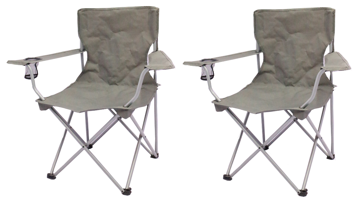 2 Pack Quad Folding Camping Chair Steel Frames Armrests Gray Outdoor Seat NEW