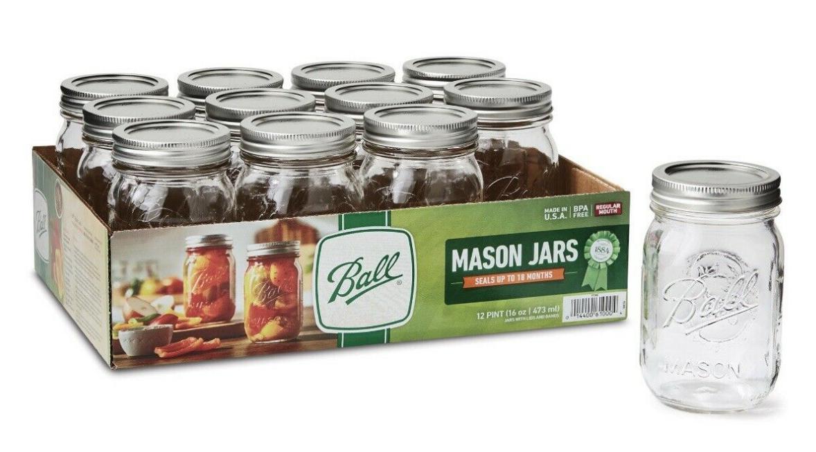 ✅BALL 12pk 16oz Regular Mouth Pint Canning Mason Jars, Lid