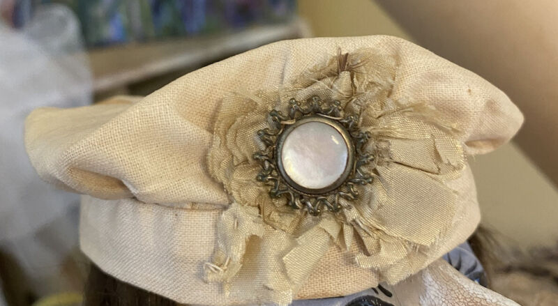 exceptional antique doll hat cream embellished beret Sailor 1800s primitive folk