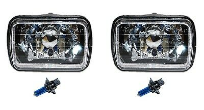 7X6 Black / Chrome White Halo Halogen Crystal Headlight Headlamp H4 Light Bulbs