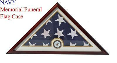 NAVY Flag Display Case Box, 5x9 Burial - Funeral - Veteran Flag Elegant Display ](Flag Display Box)