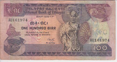 ETHIOPIA  P. 40-1974 100 BIRR SIG 3 PREFIX AU, SCARCE, GRAFFITI AT BACK, F