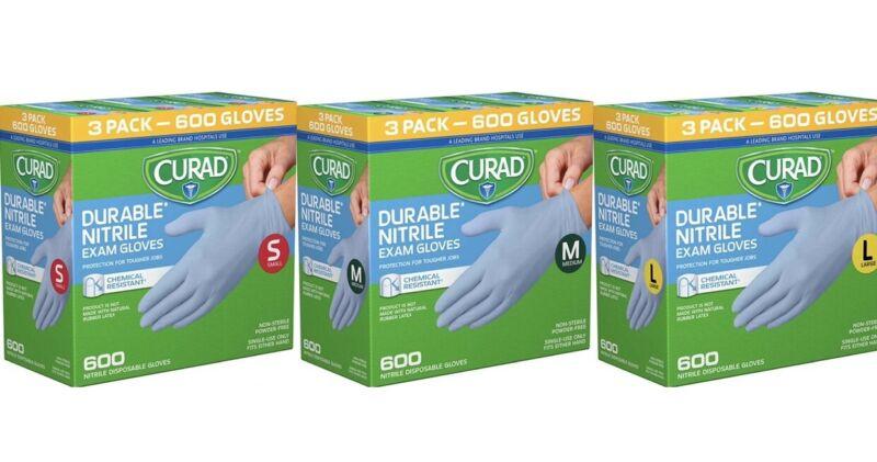 Curad Durable Nitrile Exam Gloves Small, Medium, Large (600 Count)