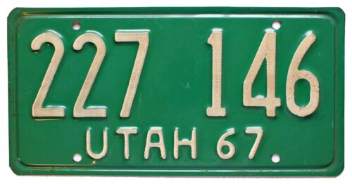 Vintage Utah 1967 Commercial Truck License Plate, 227 146, High Quality
