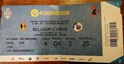 Ticket footbal Belgium - Cyprus Chypre 19/11/2019 Qualification EURO 2020
