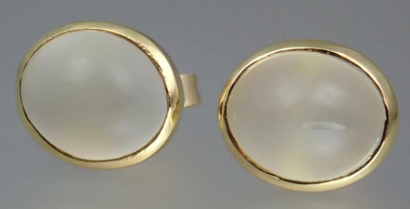Beautiful Antique Art Deco 18K Gold 8.8ct Moonstone Cabochon Post Stud Earrings