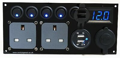 Camper Switch Panel 2.1A USB 12V 240V CBE T5 T4 T25 Transporter Split Charger