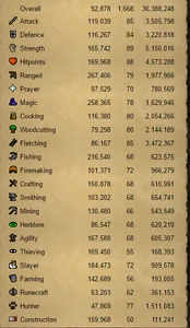 Runescape 2007/Rs3 Account High stats