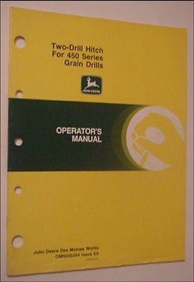 Original Oem John Deere Two-drill Hitch For Model 450 Grain Drills Manual
