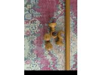 Curtain Pole with fittings pine wood.