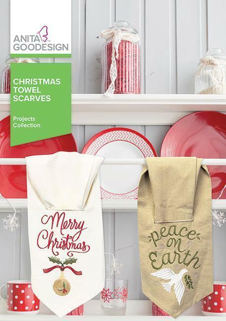 Christmas Towel Scarves Anita Goodesign Embroidery Machine Design CD NEW