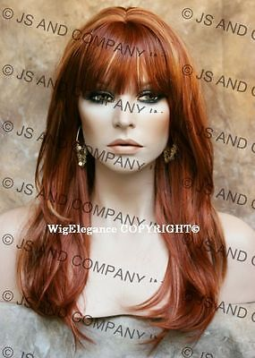 Long FACE FRAME silky straight WIG with Blunt cut Bangs RED MIX  WASR R147 (Long Red Wig With Bangs)