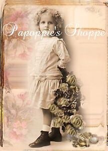 Victorian-Girl-Portrait-Fabric-Block-Chic-Shabby-Altered-Art-Roses-Vintage
