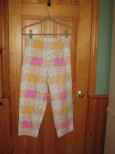 Sweet Talbots chintz floral garden cotton capri pants, white pink orange; sz 10