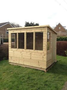 8x5 SUN PENT POTTING SHED T&G TANALISED WOODEN GREENHOUSE SUMMERHOUSE
